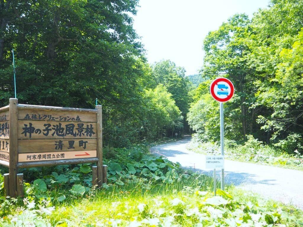 神の子池風景林 看板