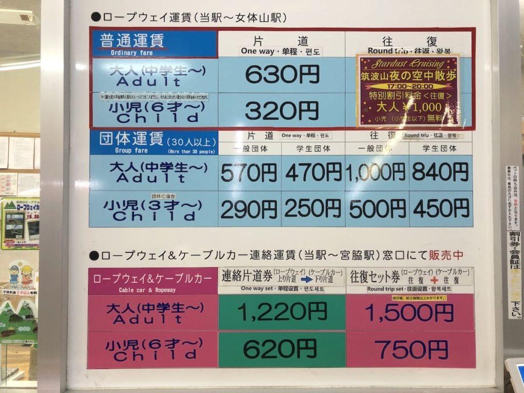 筑波山ロープウェイ運賃表